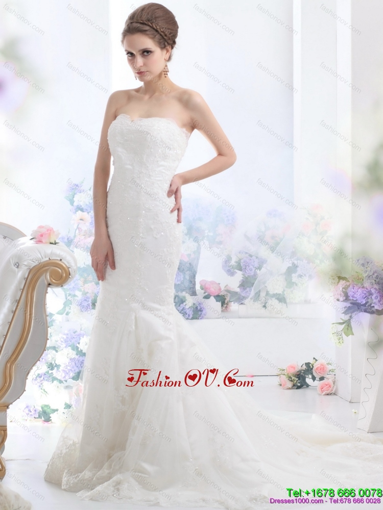 Cheap Lace White Wedding Dress with Brush Train for 2015