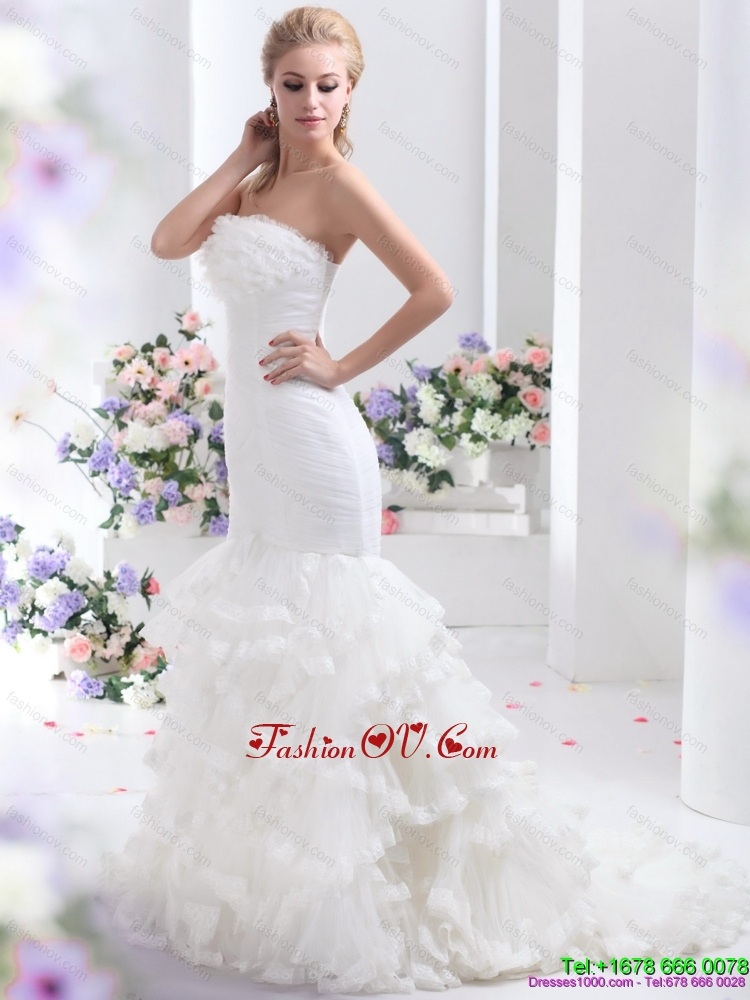 2015 Cheap Strapless Wedding Dress with Mermaid