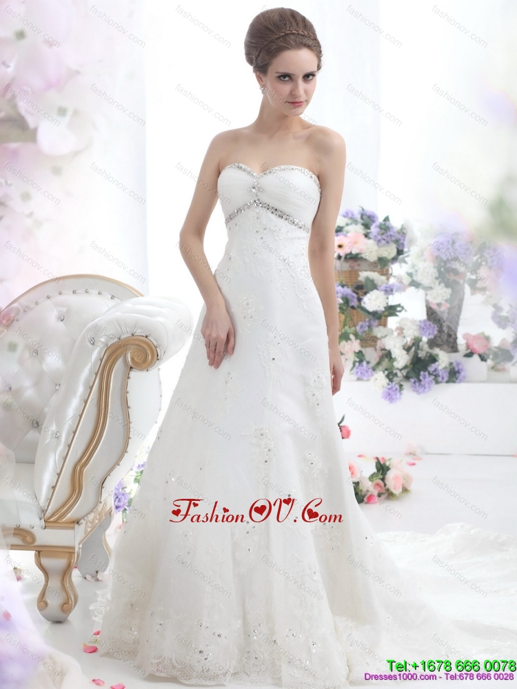 2015 Cheap Sweetheart Wedding Dress with Beadings