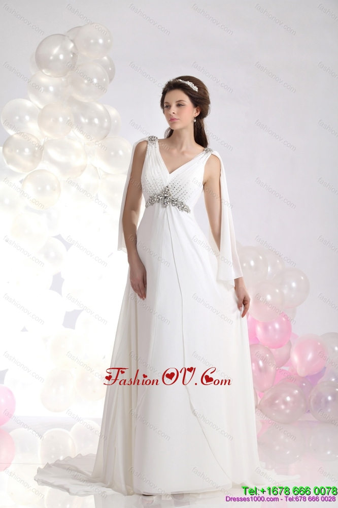 2015 Cheap V Neck Wedding Dress with Beading and Ruching