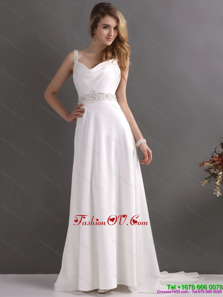Cheap Straps Wedding Dress with Paillette for 2015