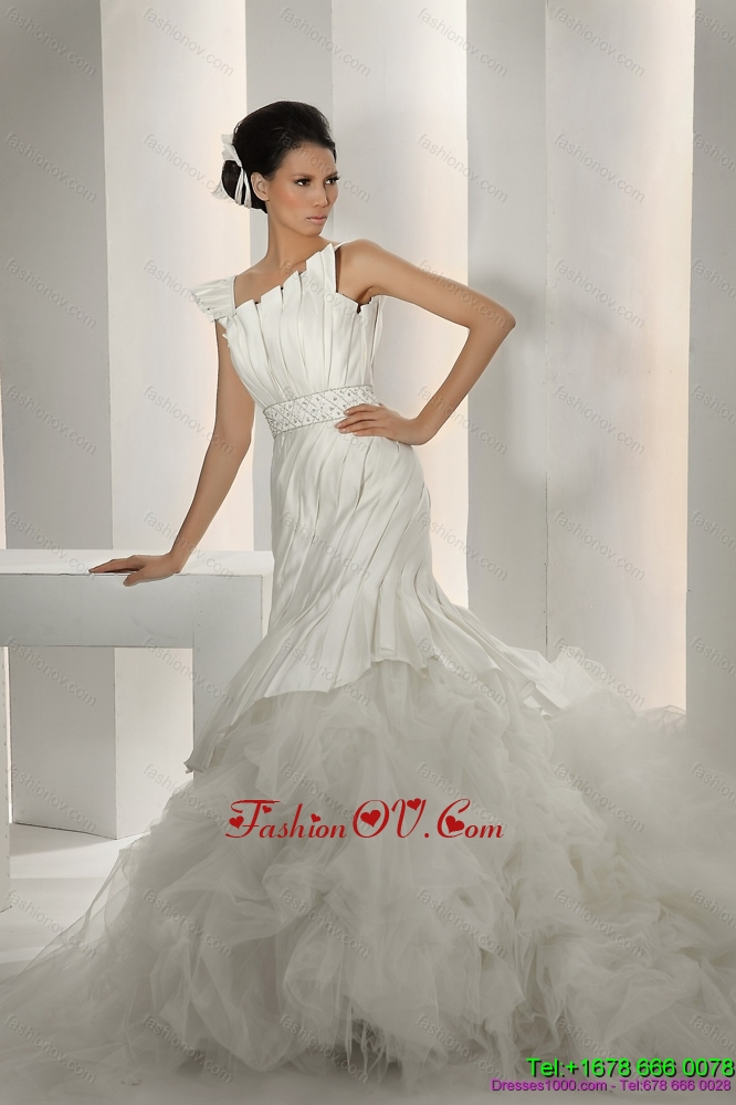 Cheap 2015 Asymmetrical A Line Wedding Dress with Ruching and Ruffles