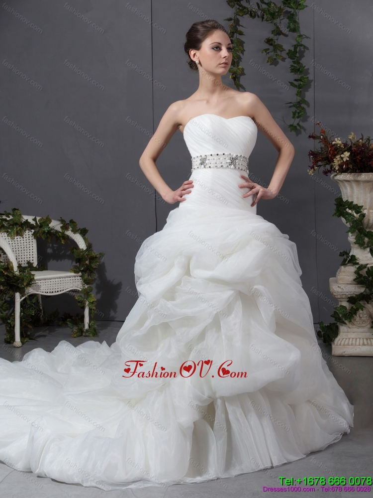 Cheap 2015 Strapless Wedding Dress with Beading and Ruching