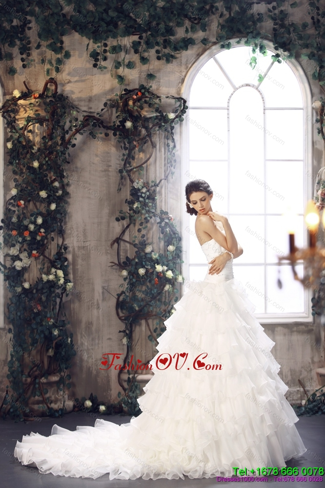 Cheap 2015 Strapless Wedding Dress with Beading and Ruffles