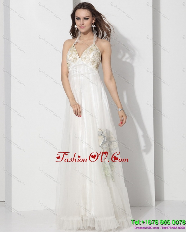 Cheap Halter Empire Wedding Dress with Appliques for 2015