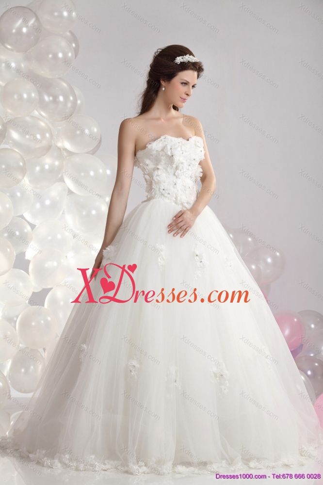 Cheap White Strapless Bridal Dresses with Beading and Hand Made Flowers