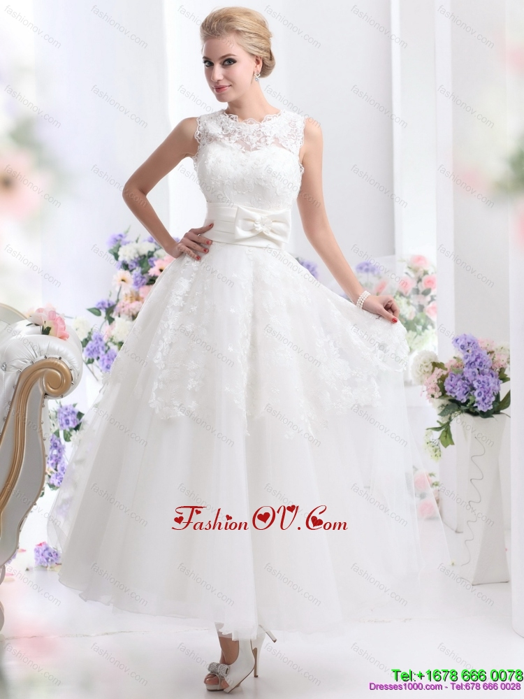 2015 Cute Scoop Ankle Length Wedding Dresses with Lace and Bowknot