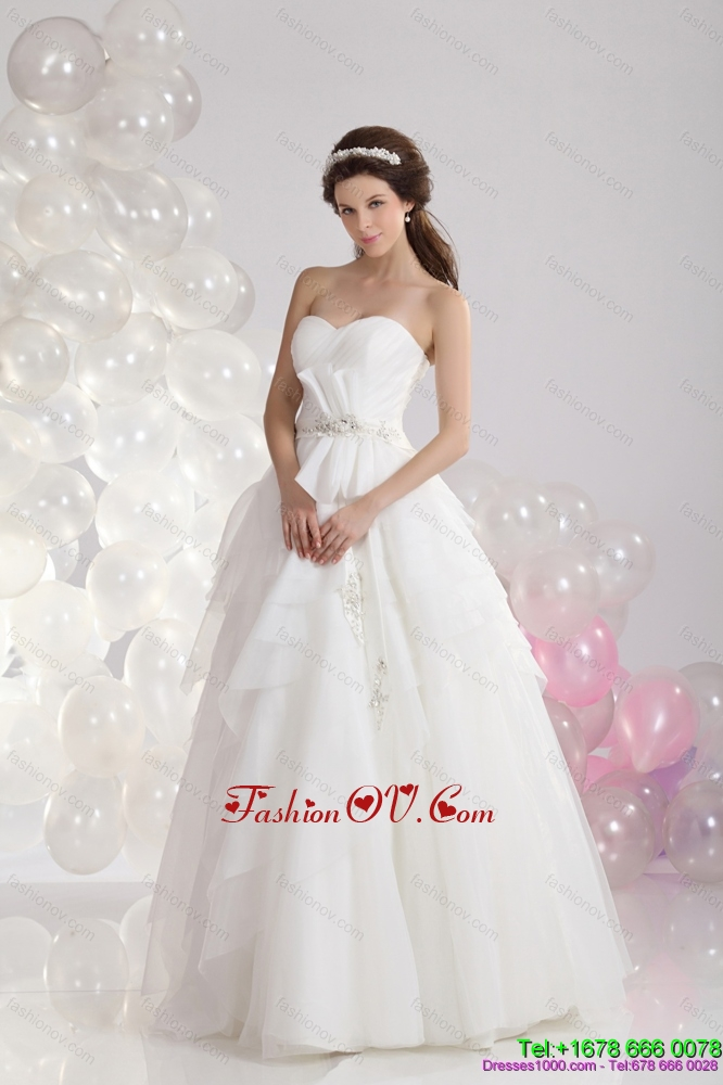 2015 New Style Sweetheart Beach Wedding Dress with Paillette and Ruching