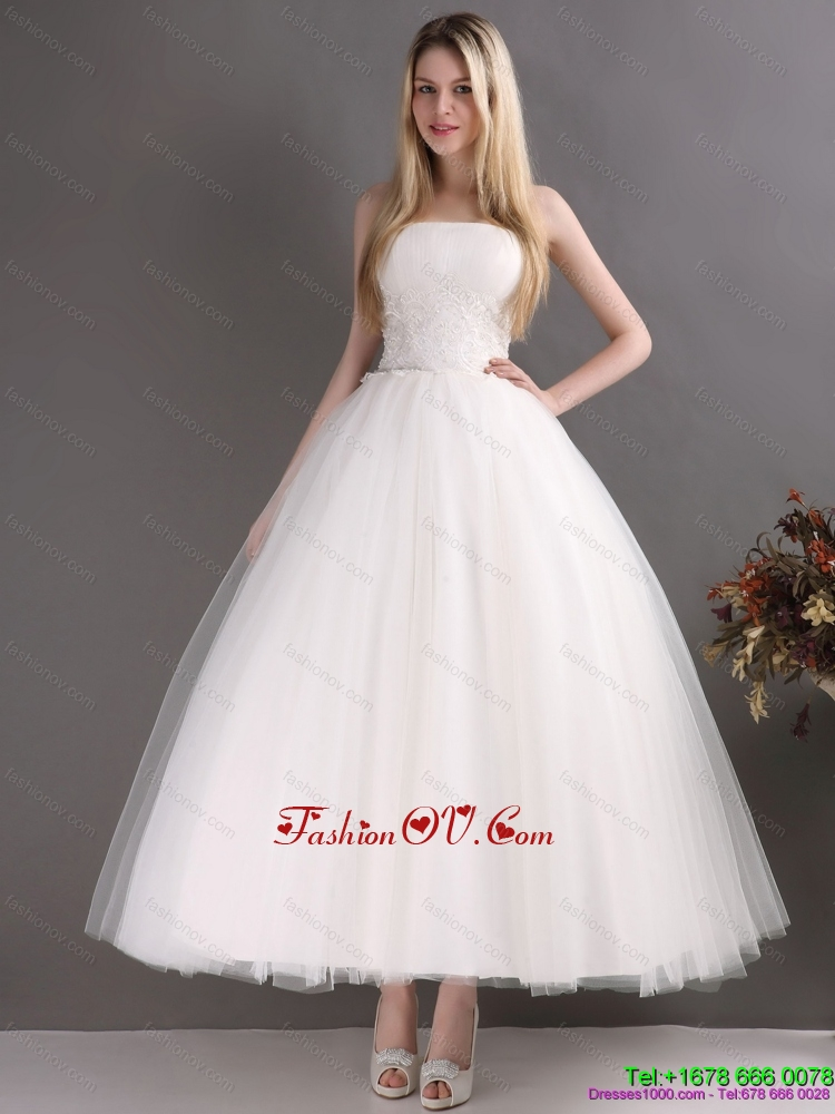 2015 Perfect Sweetheart Ankle Length Lace Beach Wedding Dress