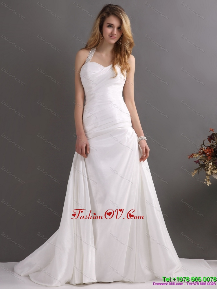 2015 The Super Hot Halter Top Wedding Dress with Beading and Ruching