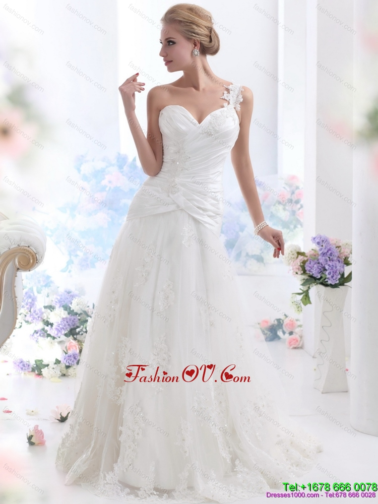 2015 The Super Hot One Shoulder Beach Wedding Dress with Ruching and Lace