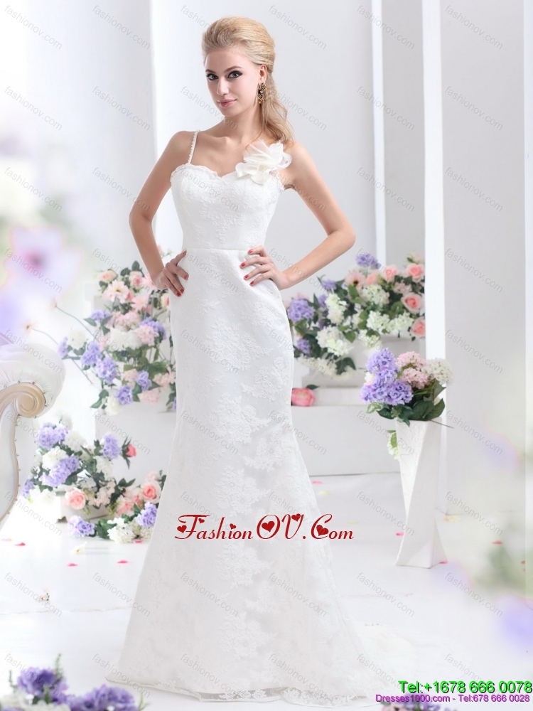 Discount White Column Lace Wedding Dresses with Brush Train and Hand Made Flower