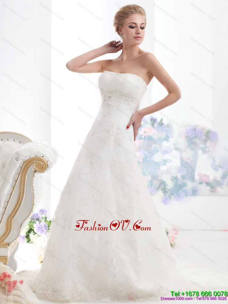 Modest Strapless Wedding Dress with Beading for 2015