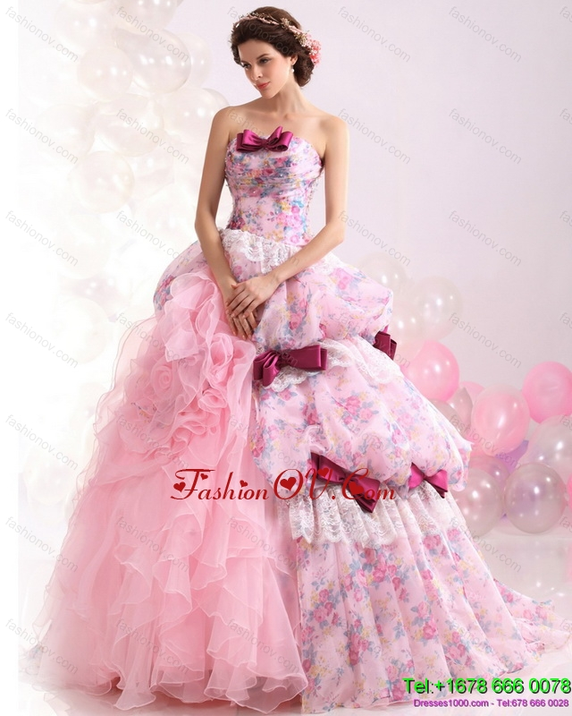Multi Color Ball Gown Ruffles Wedding Dresses with Lace and Bowknot