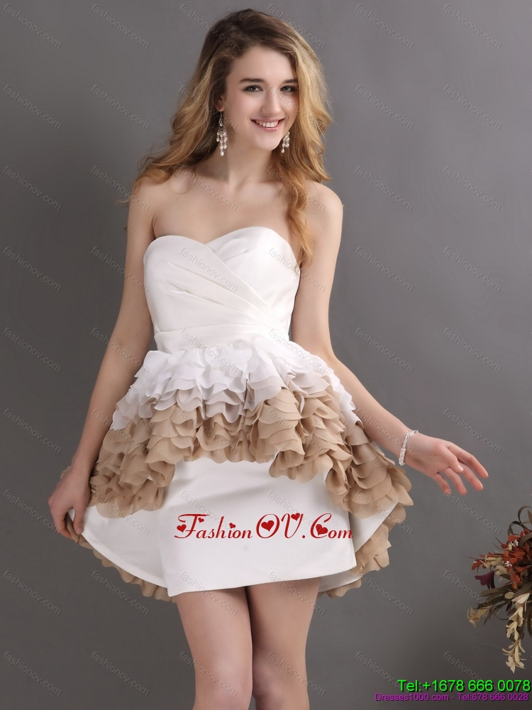 Perfect Pleated Sweetheart WhiteBridal Gowns with Ruffles