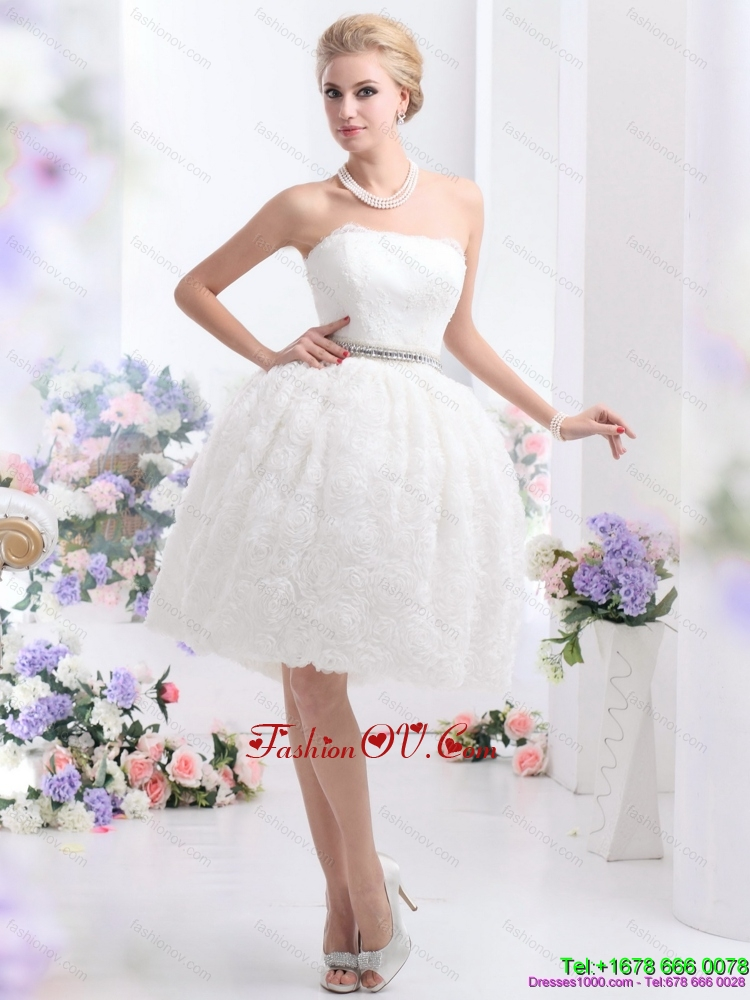 2015 High End Strapless Wedding Dress with Knee Length