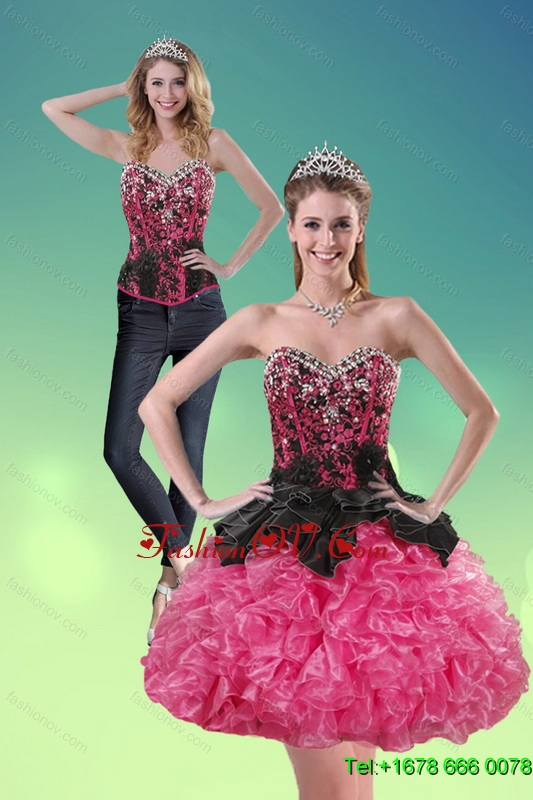 Detachable 2015 Sweetheart Multi Color Prom Skirts with Ruffles and Beading