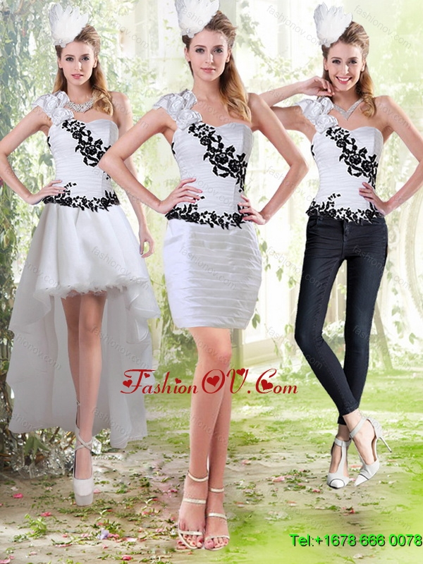 2015 Column Sweetheart Detachable Prom Skirts with Black Appliques