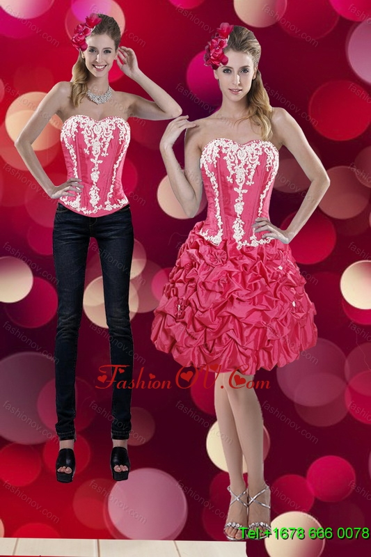 2015 Detachable Embroidery and Pick Ups Sweetheart Prom Skirts in Coral Red