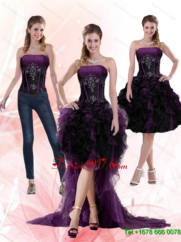 2015 Multi Color Beading and Ruffles Detachable Prom Skirts