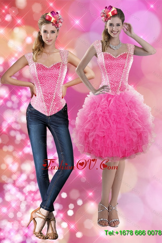 2015 Straps Beading and Ruffles Detachable Prom Skirts in Pink