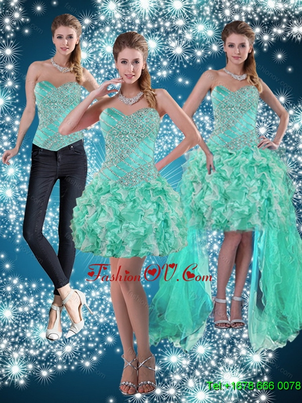 Apple Green Sweetheart Detachable Prom Skirts for 2015
