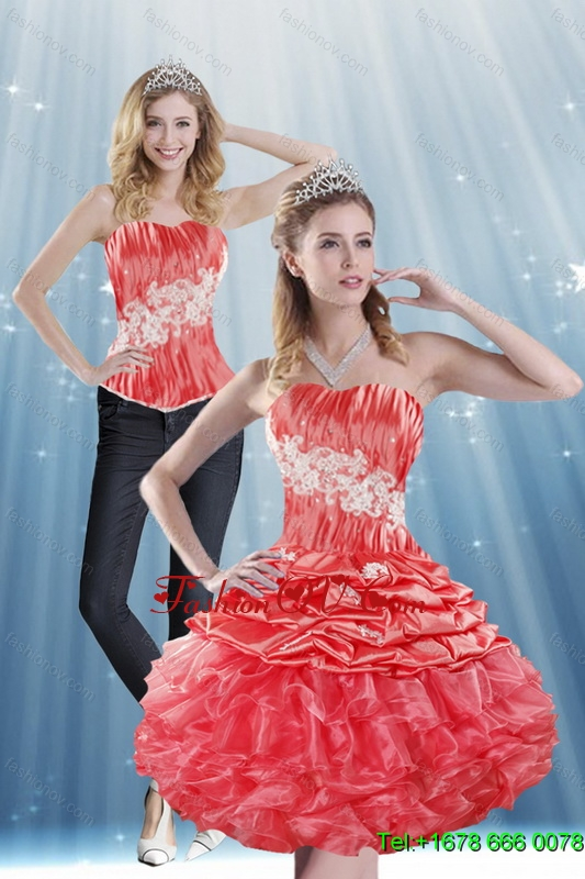Detachable 2015 Strapless Appliques and Pick Ups Prom Skirts in Coral Red