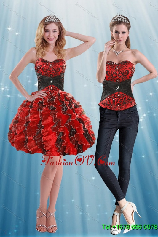 Detachable Sweetheart Prom Skirts with Appliques and Ruffles