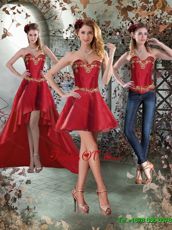 Sweetheart Embroidery Detachable Prom Skirts for 2015