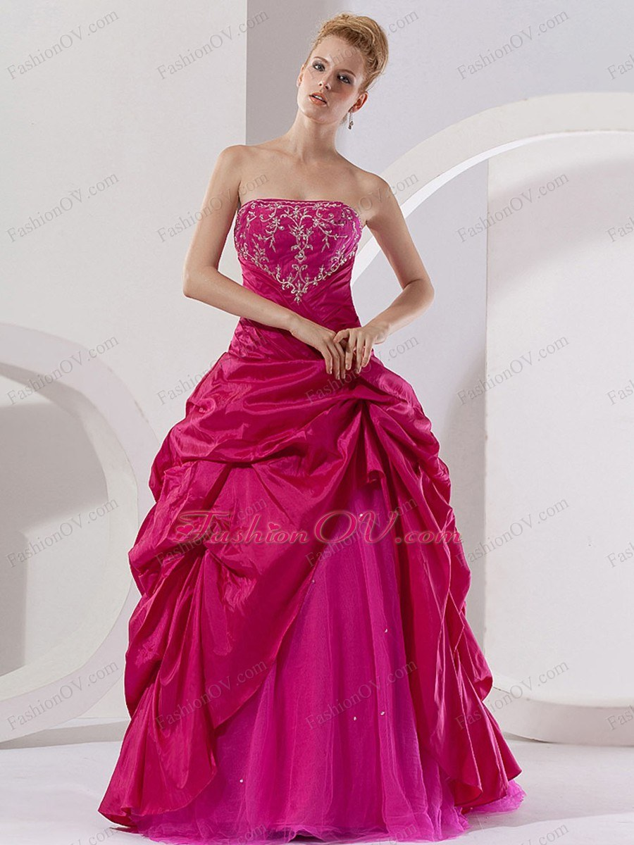 Cheap A Line Strapless Embroidery Hot Pink Quinceanera Dress