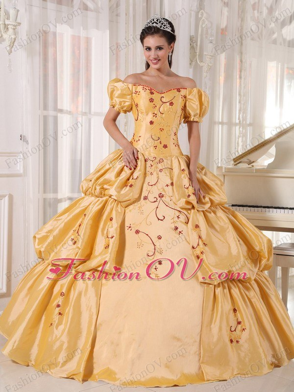 Gold Quinceanera Dress Off The Shoulder Taffeta Embroidery