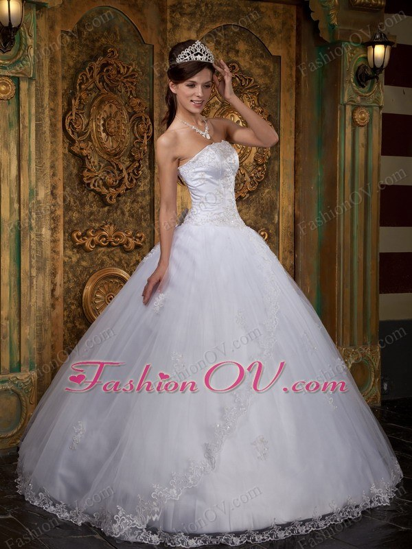 White Ball Gown Strapless Floor-length Satin and Tulle Lace
