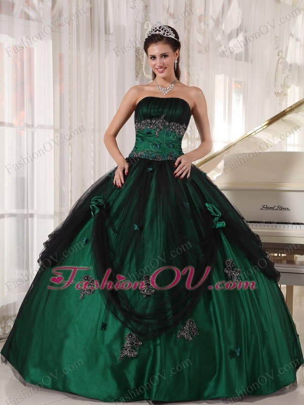 Green Quinceanera Dress Strapless Tulle and Taffeta Beading