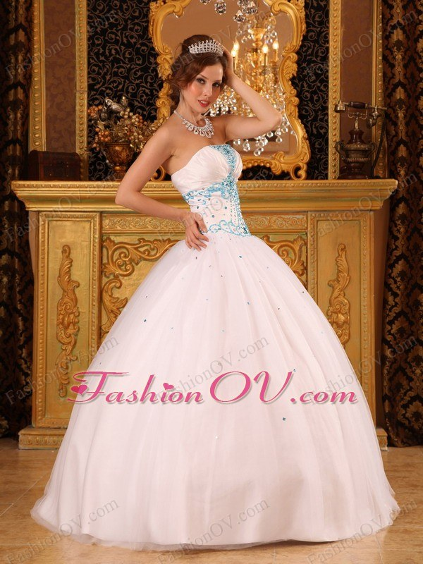 White Strapless Quinceanera Dress Satin and Organza Beading