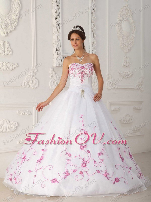 White Strapless Quinceanera Dress Satin and Organza Embroidery