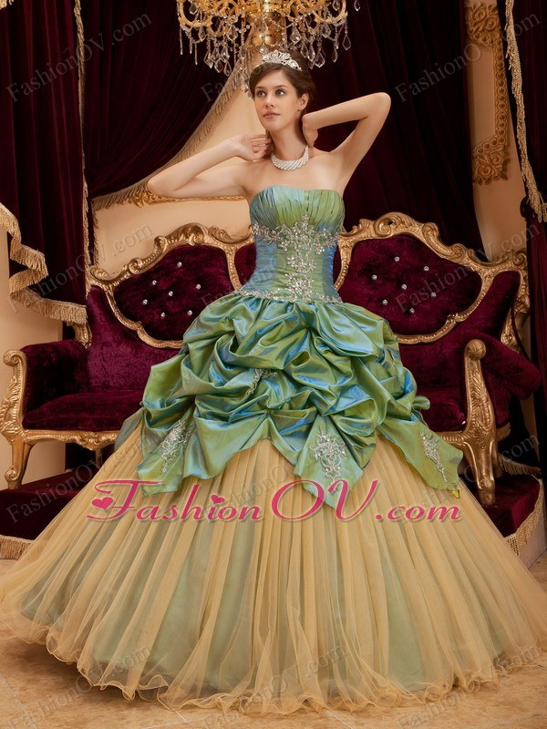 Beading Pick-ups Quinceanera Dress Olive Green Strapless