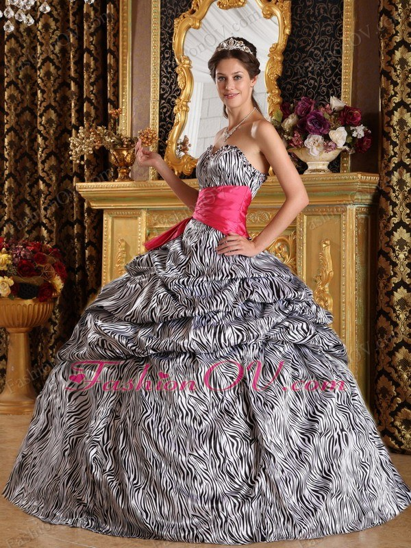 Popular Ball Gown Sweetheart Zebra Quinceanera Dress