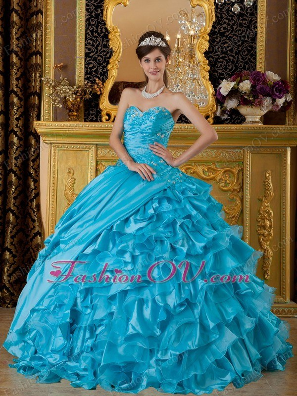 Sweetheart Appliques Aqua Blue Quinceanera Dress Ruffles