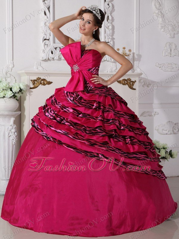 Hot Pink Zebra Beading Quinceanera Dress with Bow and Ruffles