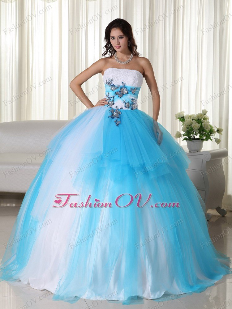 Aqua Blue Beading Quinceanera Dress Ball Gown Tulle