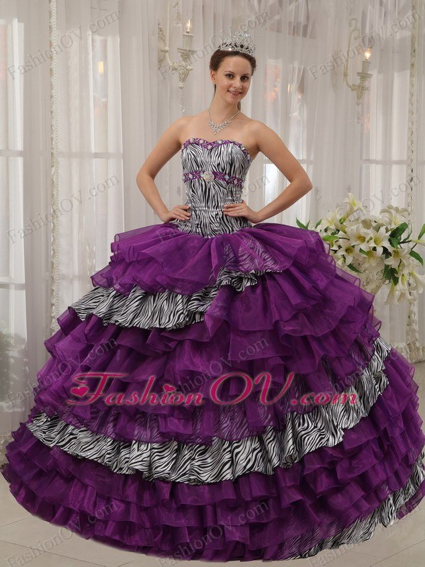 Zebra Organza Beaded Quinceanera Gown Purple Sweetheart