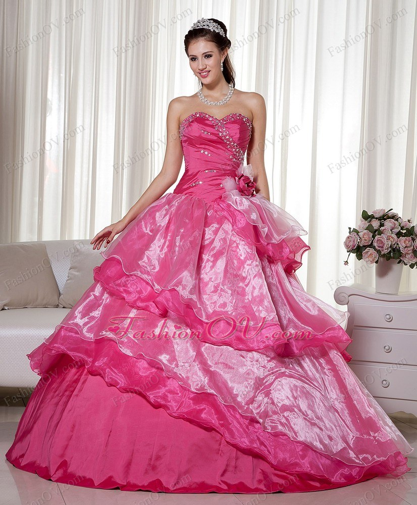 Hand Made Flower Hot Pink Beading Quinceanera Ball Gown