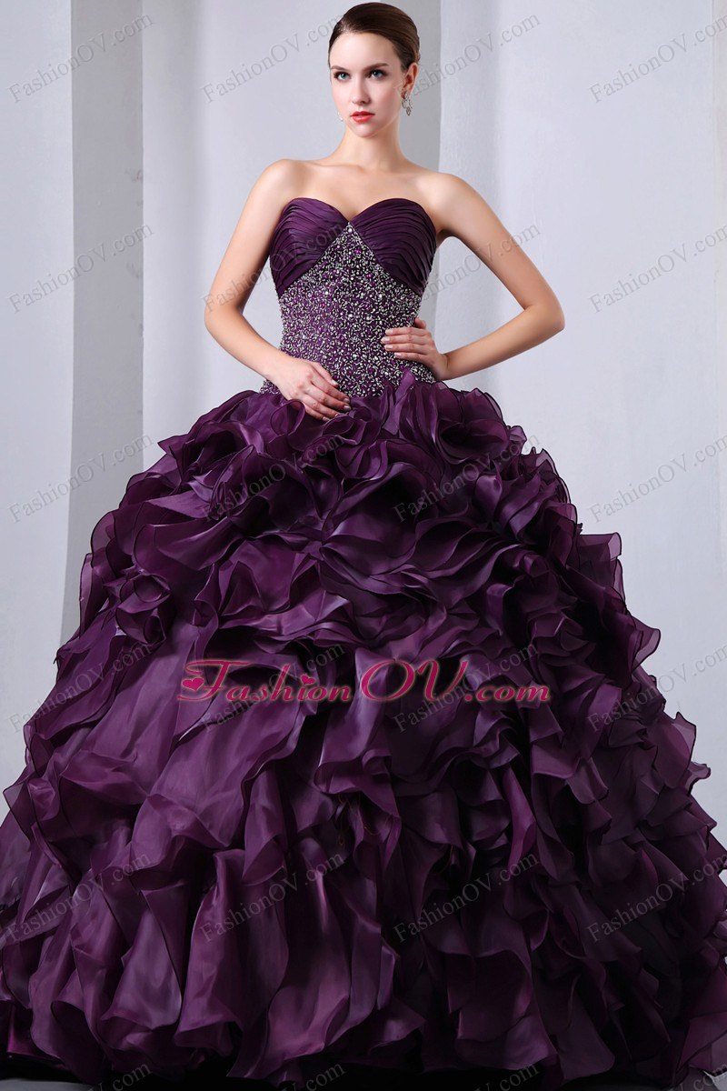 Dark Purple Beading Ruffles Sweet 15 Dress Brush Organza