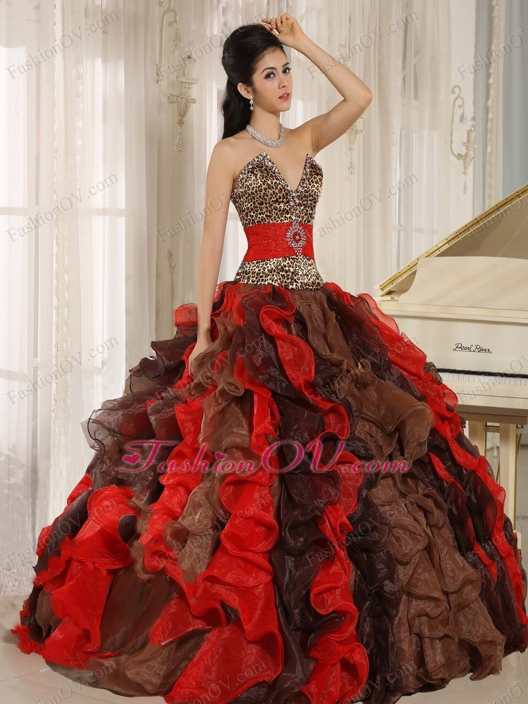 Multi-color Leopard Quinceanera Dresses V-neck Ruffles