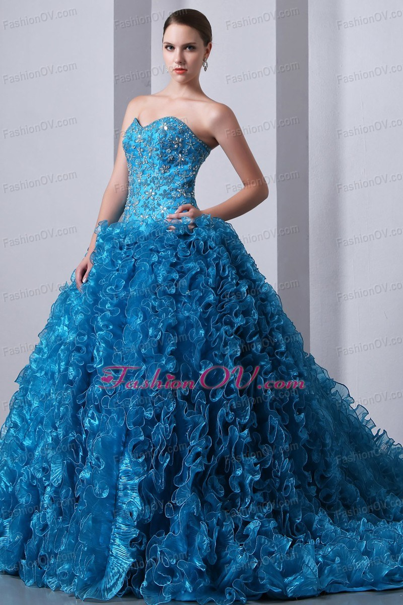 Beaded Ruffled 15th Birthday Dresses Teal Sweetheart Organza - $265.89