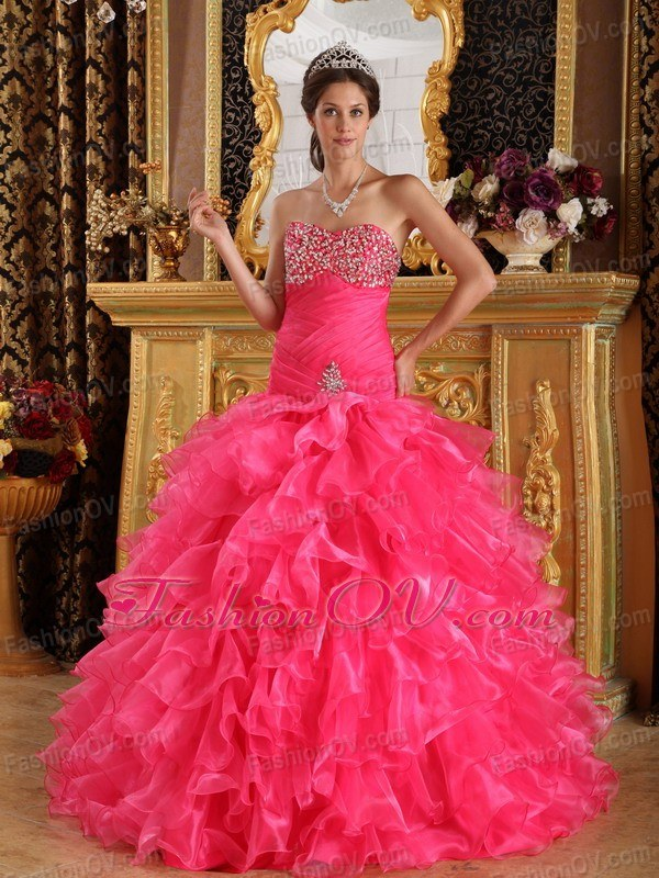 Beading Fifteenth Dress Organza Ruffles Hot pink Sweetheart
