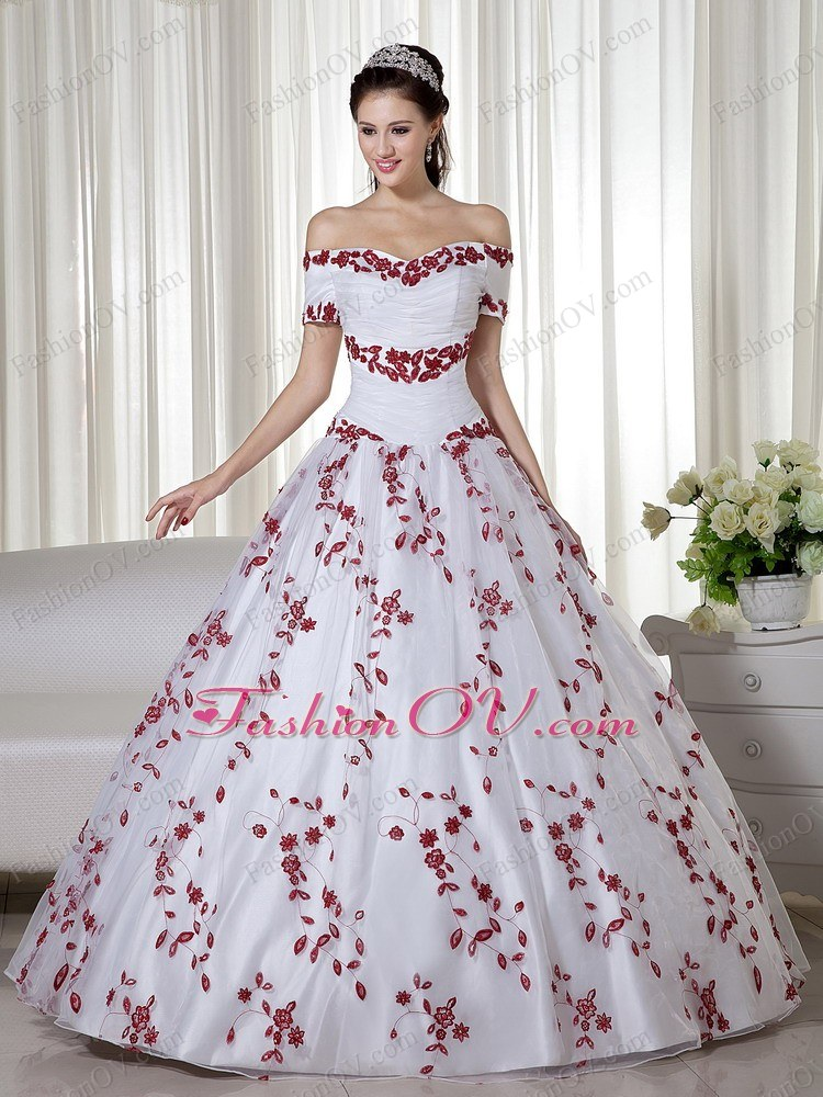 White and Red off the Shoulder Pretty Embroidery Quinces Dress