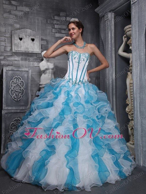 White Blue Quinceanera Dress Sweetheart Taffeta Organza