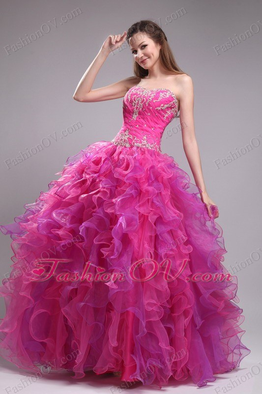 Sweetheart Floor-length Organza Appliques Quinceanera Dress