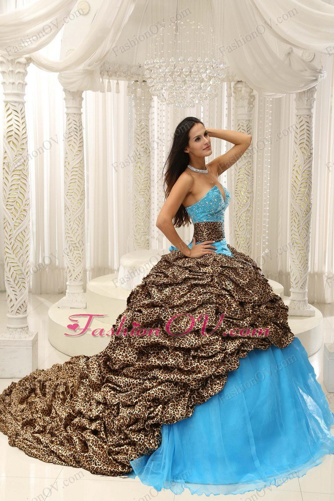 Leopard Organza Beading Sweetheart Neckline Quinceanera Dress